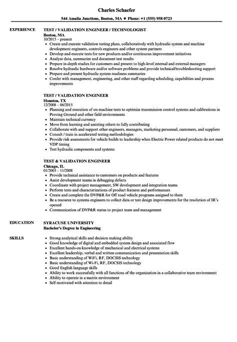 test validation engineer resume sles velvet