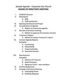 Sample Board Meeting Agenda Template   11  Free Documents