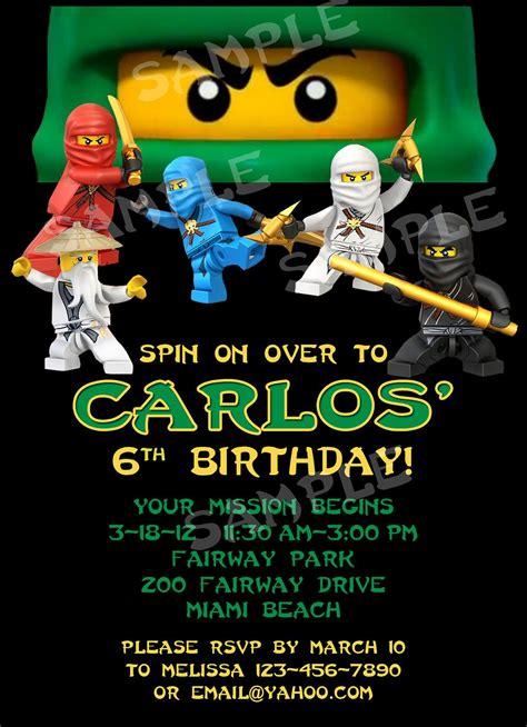 printable lego ninjago birthday invitations printable ninjago birthday invitation 4x6 or by