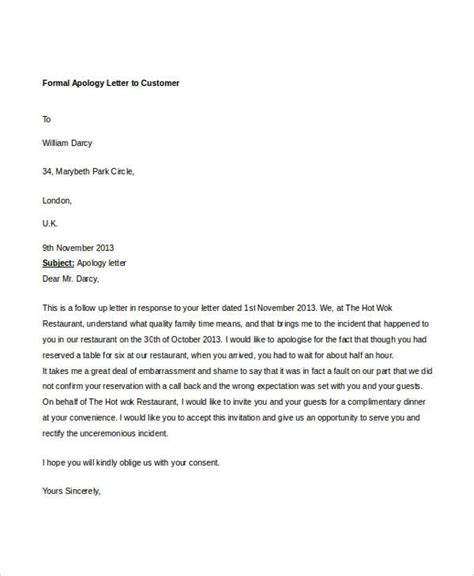 Formal Letter Format Of Apology Formal Letter Sle Template 70 Free Word Pdf