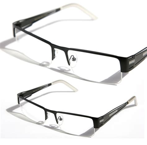 rectangular half rimless metal sun glasses optical rx