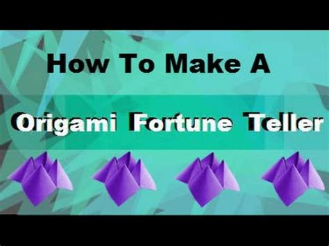 How Do You Make A Origami Fortune Teller - how to make a origami fortune teller