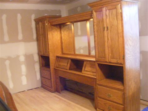 lighted bedroom  pier wall unit queen size  mirrored dresser ebay