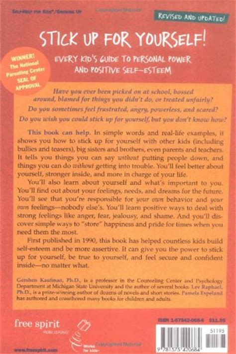 Pdf Stick Up Yourself Personal Self Esteem by Stick Up For Yourself Every Kid S Guide To Personal Power