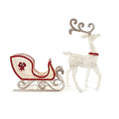 Home Accents Holiday 65 In Led Lighted White Deer And 46 Outdoor Lighted Sleigh