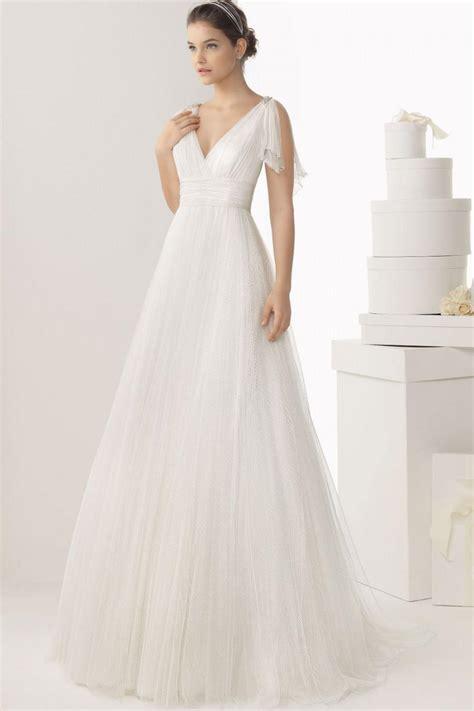V Neck Wedding Dresses Uk by V Neck Y Back Empire Tulle White Wedding Dress Uk