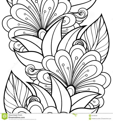 coloring page batik vector seamless monochrome floral pattern stock vector