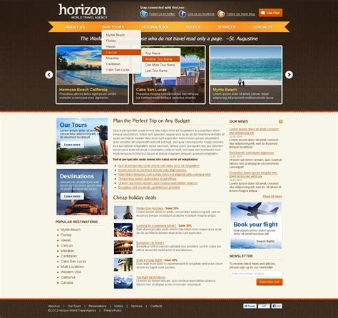 templates for travel website travel agency website template 38112