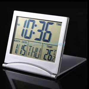 large hd digital lcd folding travel alarm clock with thermometer calendar timer 753640553770 ebay