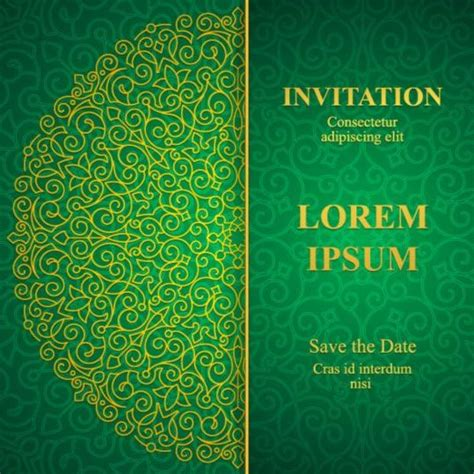 invitation card design template free green orante green wedding invitation cards design vector 08