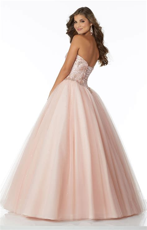 mori lee prom  strapless tulle ball gown prom dress