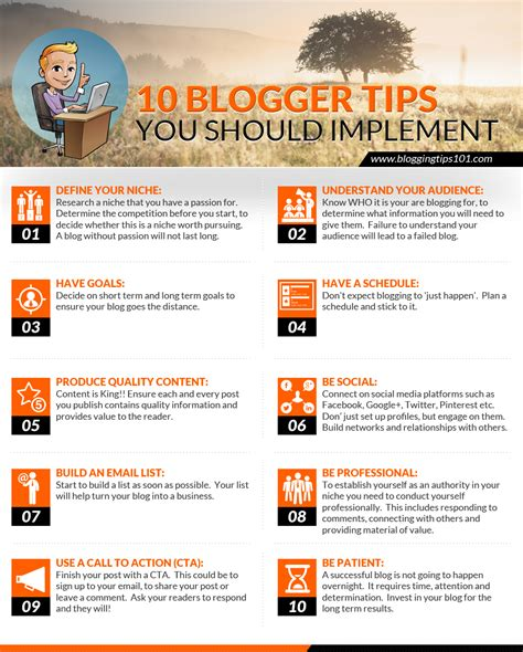 blogger guide top 10 blogger tips to implement today infographic