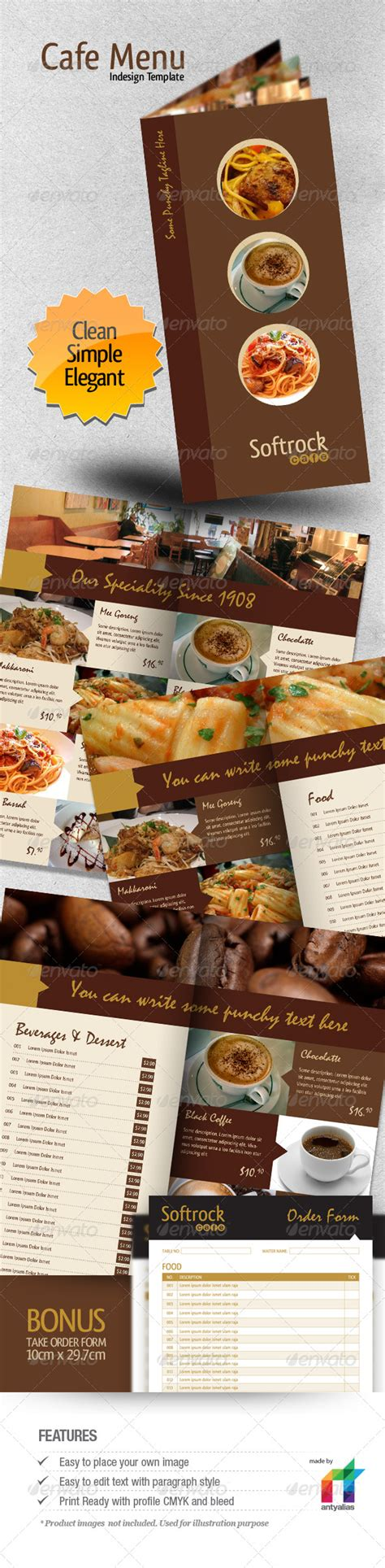 Cafe Menu Indesign Template By Antyalias Graphicriver Indesign Menu Template