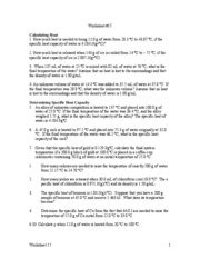 Specific Heat Calculations Worksheet Chemistry Answers by Specific Heat Worksheet Answers Abitlikethis
