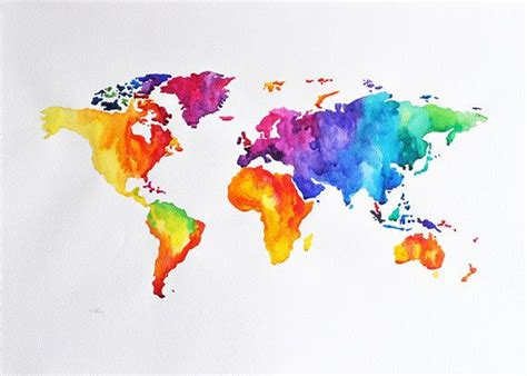 colorful world map original abstract world map watercolor painting large