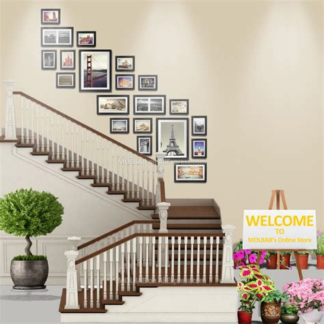 12 pcs reality wood picture photo frame wall set art work stairway wall photo frames 7 12 16 inch decorative wooden