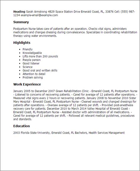Postpartum Resume Objective Professional Postpartum Templates To Showcase Your Talent Myperfectresume
