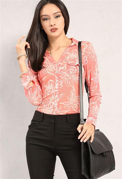 Preloved Sheer Blouse 1 semi sheer floral print button blouse shop blouse shirts at papaya clothing