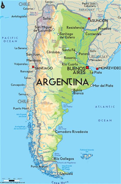 argentina physical map among the physical features argentina