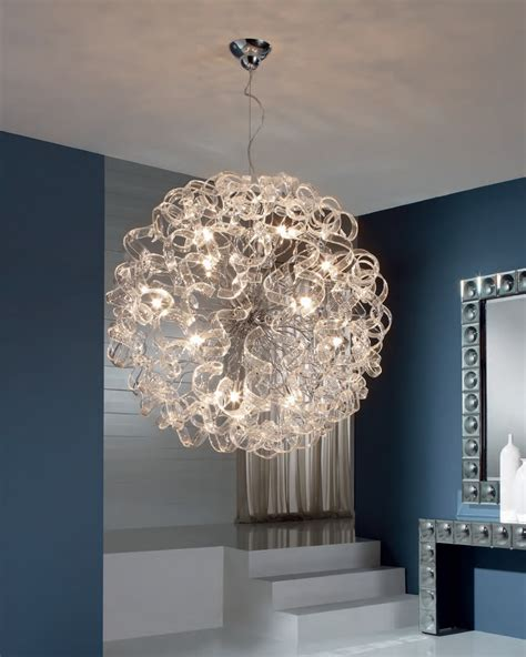 large glass pendant light ball pendant light with curly ribbons of glass medium or
