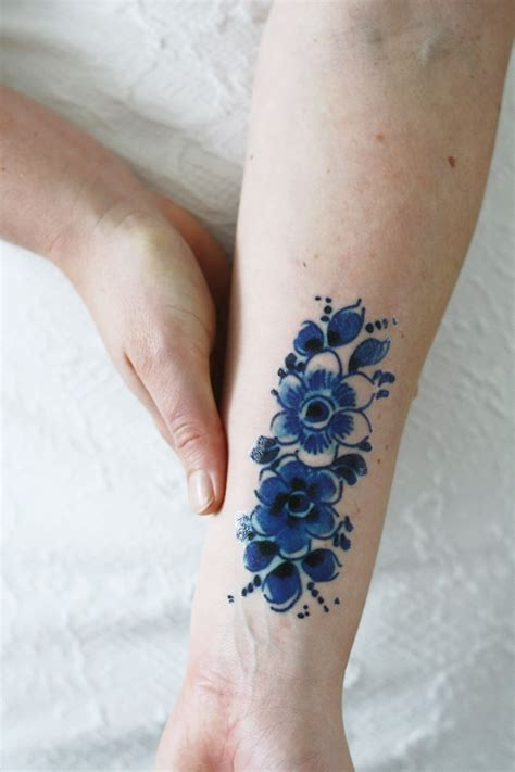 blue henna tattoo delft blue flower temporary tattoos by tattoorary