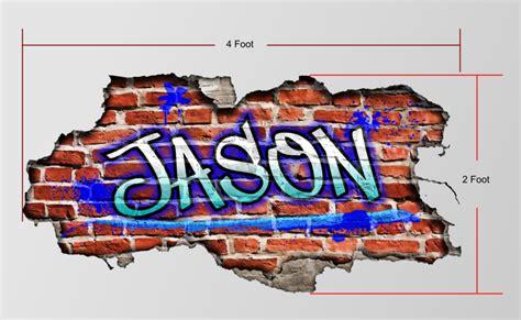 Custom Graffiti Name Personalized Brick Wall Art Bedroom Brick Wall Tattoos Graffiti 2