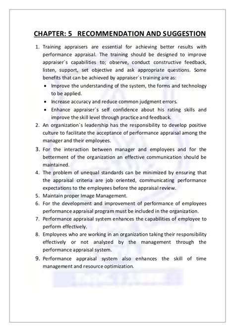 Constructive Feedback Mba Recommendations by A Study On Performance Appraisal Of Human Resource