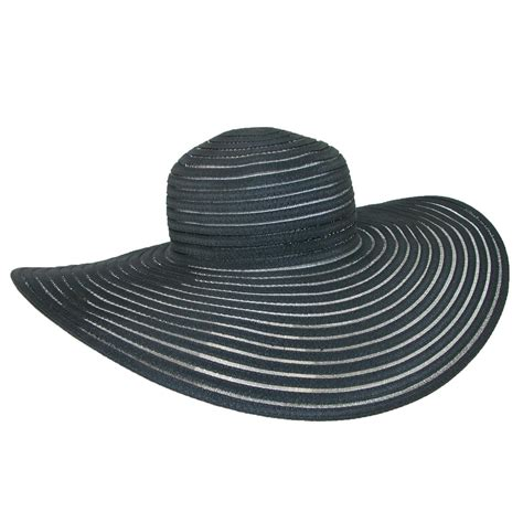 ctm 174 womens ribbon and mesh 6 inch brim sun hat