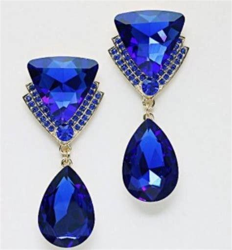 royal blue chandelier earrings 2 6 quot sapphire royal blue evening