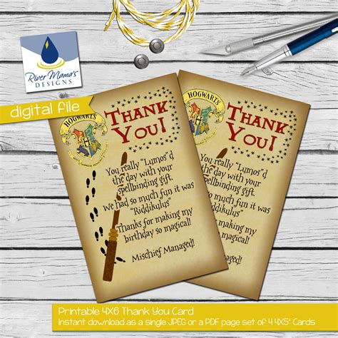 printable harry potter thank you cards printable thank you card harry potter inspired with hogwarts
