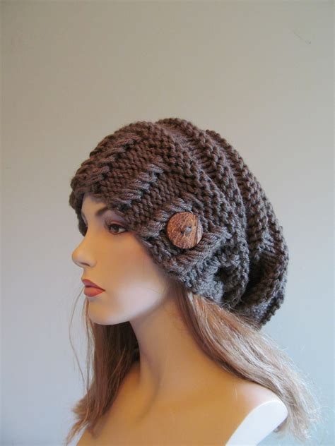 slouchy knit beanie slouchy beanie slouch hats oversized baggy beret button womens