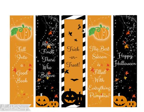 printable pumpkin bookmarks items similar to printable bookmarks halloween party