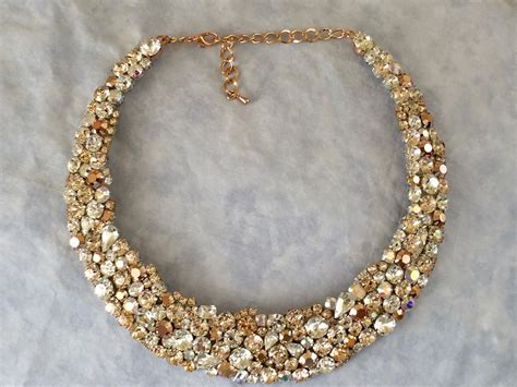 braut collier rose gold swarovski crystal bridal statement necklace
