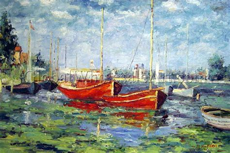 monet boats at argenteuil claude monet red boats at argenteuil oil paintings on
