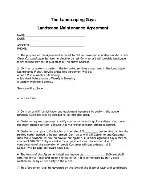Landscaping Contract Sle Hunecompany Com Landscaping Contract Template Pdf