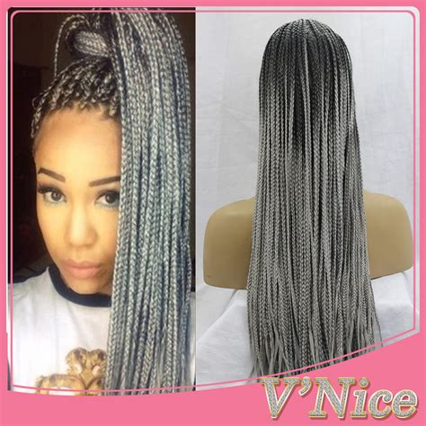 where to buy grey kinky twist hair ombre grey braided synthetic lace front wigs kinky twist