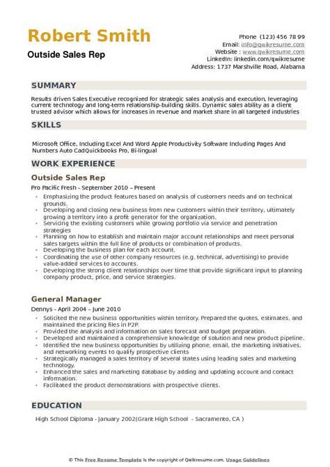 Outside Sales Rep Resume Sles Qwikresume Outside Sales Description Template