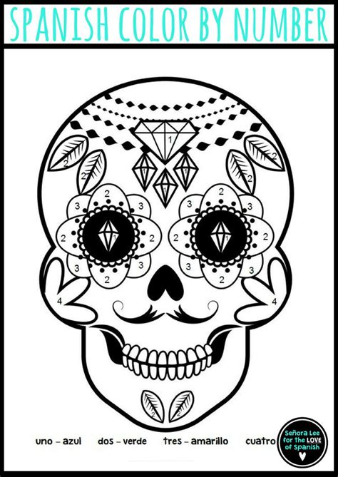 day of the dead colors color by number day of the dead calavera