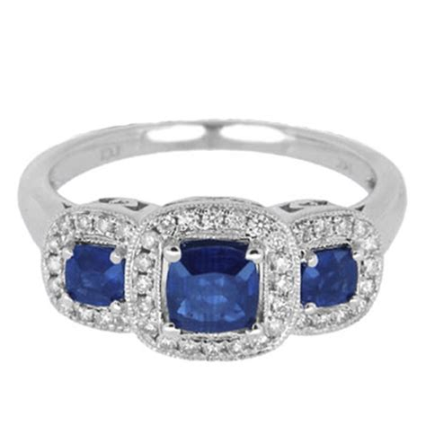 Blue Sapphire 9 05ct 3 and blue sapphire ring 14k white gold 1