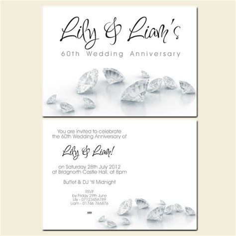 50th wedding invitation templates 60th wedding anniversary invitations diamonds