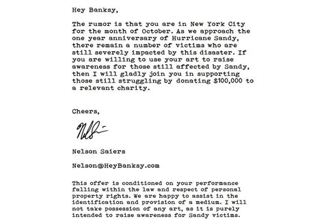 Donation Letter For Calamity Victims A Hedge Fund Manager Wants To Make Deal With Banksy To Help Victims Of Hurricane