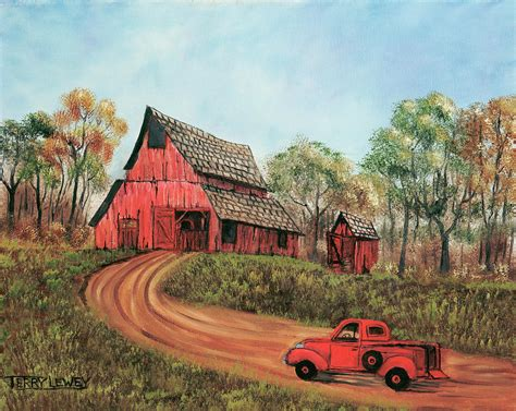Texas Farm House Plans old red barn painting by terry lewey