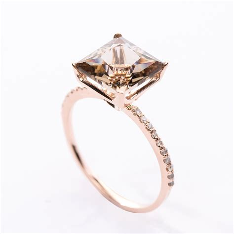 pre princess cut smoky quartz diamond pave ring