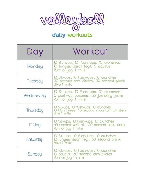printable volleyball workouts volleyball daily workouts big sister s blog