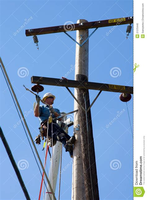 fixing power lines editorial image image