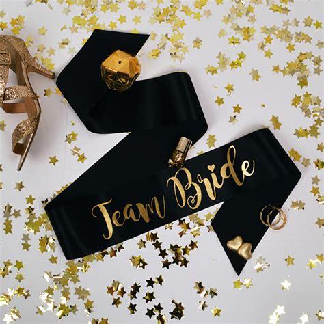 gold team themes team bride hen party sashes black gold team bride range