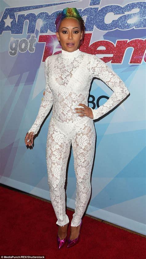Divorce Records Uk 2017 Mel B Flaunts Figure In White Jumpsuit On Agt Carpet Daily Mail