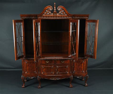 claw mahogany dining room china cabinet with gadroon