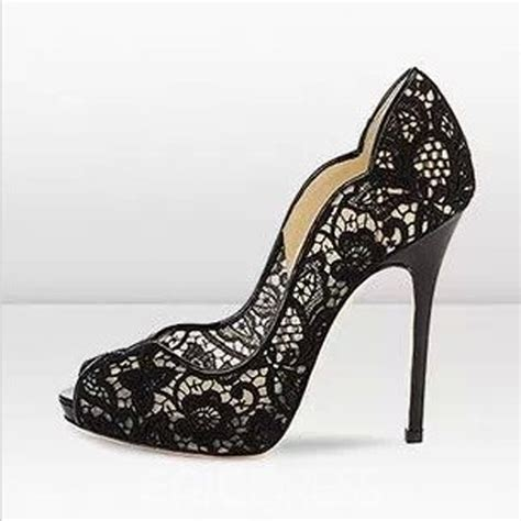 black lace stiletto heels peep toe prom