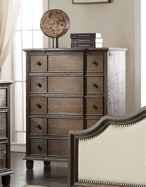 Cabinet Baudouin by Baudouin 5 Drawer Chest Weather Oak Finish Usa Warehouse